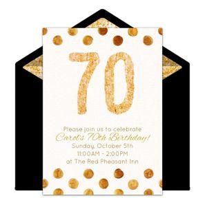 Online Golden 70 Invitations