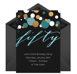 Online Fifty Blue Invitations