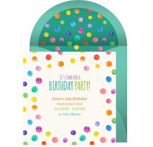 Online Birthday Dots - Teal Invitations