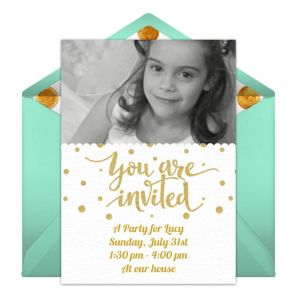 Online Gold Dots Photo - Green Photo Invitations