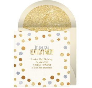 Online Birthday Foil Dots Invitations