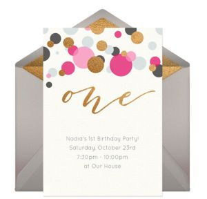 Online One Pink Invitations