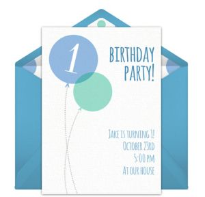 Online Blue Milestone First Birthday Invitations