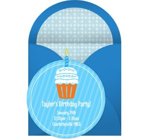 Online First Birthday Cupcake - Blue Invitations