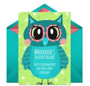 Online Groovy Owl Invitations
