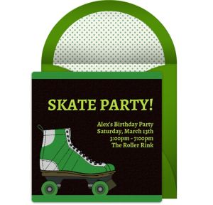 Online Roller Skate - Green Invitations