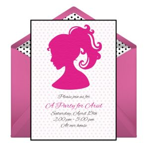 Online Ponytail Silhouette Invitations