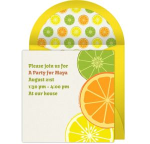 Online Fruit Slices Invitations