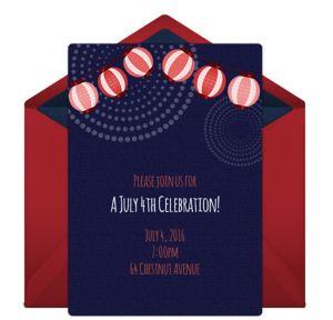 Online Patriotic Lanterns Invitations