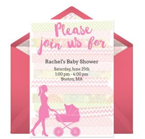 Online Baby Carriage Silhouette - Pink Invitations