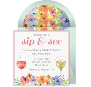 Online Floral Sip See Invitations
