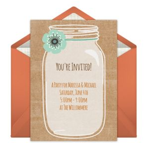 Online Rustic Mason Jar - Orange Invitations
