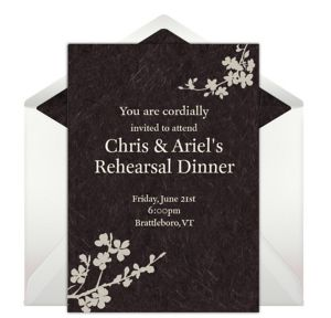 Online Simple Floral - Brown Invitations