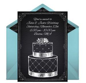 Online Chalk Wedding Cake - Blue Invitations
