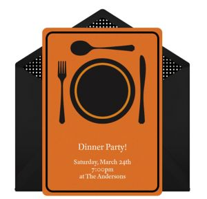 Online Dinner Time - Orange Invitations