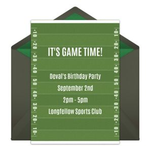 Online Birthday Football Field Invitations