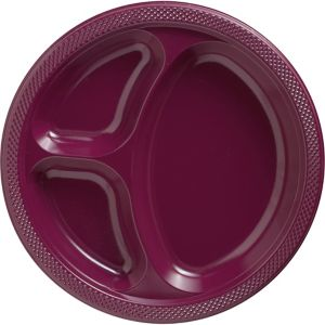 Berry Plastic Divided Dinner Plates 20ct
