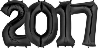 Giant Black 2017 Number Balloons 4pc