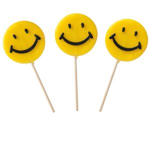 Yellow Smiley Lollipops 6ct