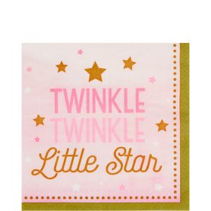 Pink Twinkle Twinkle Little Star Lunch Napkins 16ct