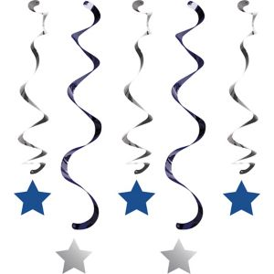 Silver & Blue Star Swirl Decorations 5ct