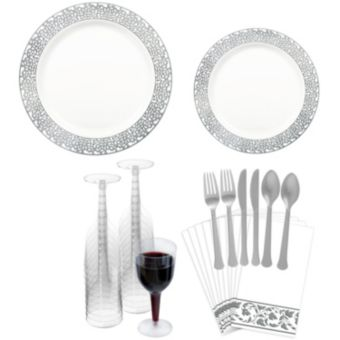 Premium Silver Lace Border Tableware Kit for 20 Guests