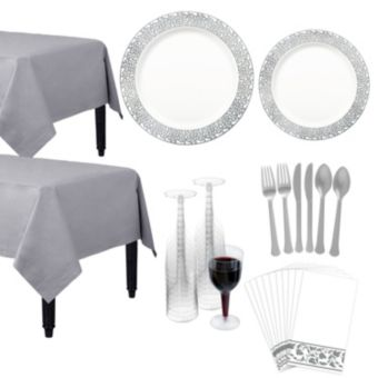 Premium White Silver Lace Border Deluxe Tableware Kit for 20 Guests