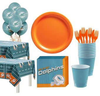 Miami Dolphins Deluxe Party kit for 36 Guests