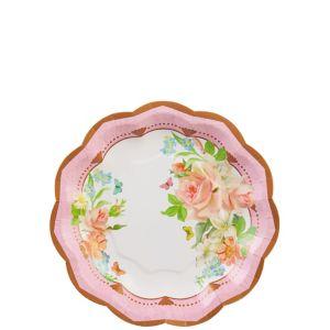Floral Tea Party Scalloped Dessert Plates 8ct