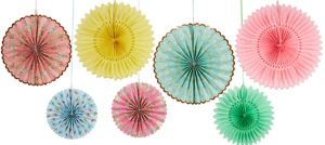 Floral Tea Party Paper Fan Decorations 7ct