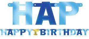 Metallic Blue 1st Birthday Banner