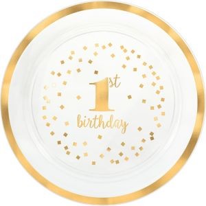 Metallic Gold Confetti 1st Birthday Serving Tray