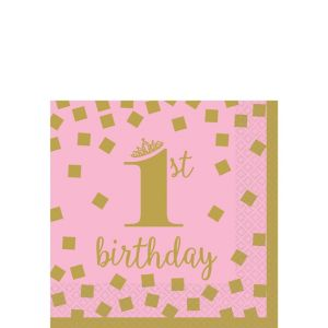 Pink & Gold 1st Birthday Beverage Napkins 16ct