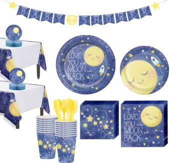 Moon & Stars Premium Baby Shower Tableware Kit for 32 Guests