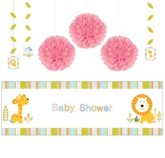 Happy Jungle Girl Decorations Shower Kit