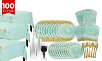 Mint To Be Bridal Shower Tableware Kit for 100 Guests