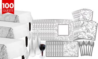 Silver Wedding Bridal Shower Tableware Kit for 100 Guests