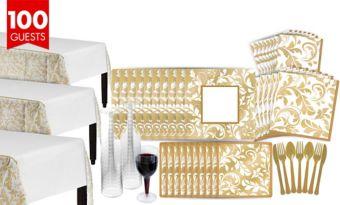 Golden Wedding Shower Tableware Kit for 100 Guests