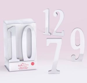 Mirrored Silver Table Numbers 7-12