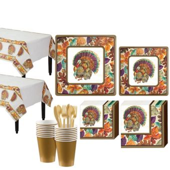 Traditional Thanksgiving Tableware Kit for 16 Guests