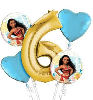 Moana 6th Birthday Balloon Bouquet 5pc