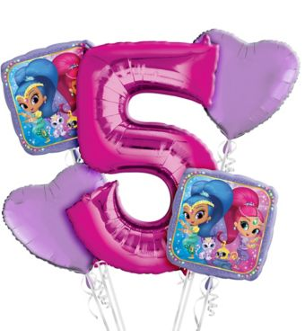 Shimmer and Shine 5th Birthday Balloon Bouquet 5pc