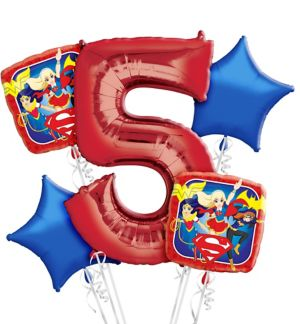 DC Super Hero Girls 5th Birthday Balloon Bouquet 5pc