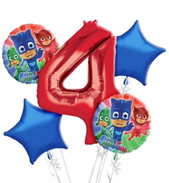 PJ Masks 4th Birthday Balloon Bouquet 5pc