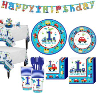 All Aboard 1st Birthday Party Kit for 18 Guests