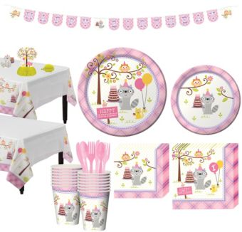 Girls Happi Woodland 1st Birthday Party Kit for 16 Guests