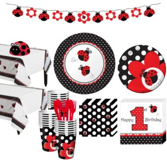 Fancy Ladybug 1st Birthday Party Kit for 32 Guests