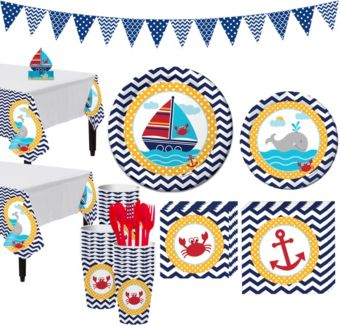 Ahoy Nautical 1st Birthday Party Kit for 32 Guests