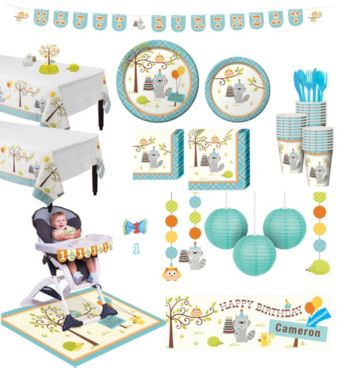 Boys Happi Woodland 1st Birthday Deluxe Party Kit for 32 Guests