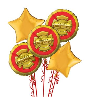 Firefighter 1st Birthday Balloon Bouquet